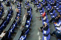 """25 MAR 2020, BERLIN/GERMANY:<br /> Um das Abstandsgebot zu beachten, ist nur jder dritte Platz in den Abgeordnentenreihen besetzt, hier die SPD Fraktion, Bundestagsdebatte zu """"COVID 19 - Kreditobergrenzen, Nachtragshaushalt, Wirtschaftsfonds"""", Plenum, Reichstagsgebaeude, Deutscher Bundestag<br /> IMAGE: 20200325-01-029<br /> KEYWORDS: Pandemie, Corona, Sitzung, Debatte"""