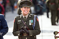 Master of Ceremonies Captain Deirdre Carberry outside the GPO in O'Connell Street for the 1916 centenary celebrations.<br />Photo: Tony Gavin 27/3/2016