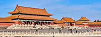 Chine, Pékin (Beijing), Cité Interdite, classée Patrimoine Mondial de l'UNESCO, Porte de l'Harmonie Supreme // China, Beijing, Forbidden City, the Supreme Harmony door