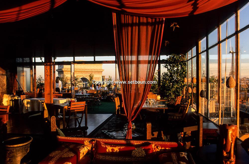 France. Paris 16 th district. the Golf club  terrace has panoramic view on Paris