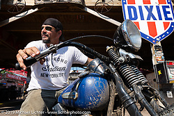 Billy Lane on his Knucklehead rider at the the Iron Horse Saloon during the Sturgis Black Hills Motorcycle Rally. Sturgis, SD, USA. Tuesday, August 6, 2019. Photography ©2019 Michael Lichter.