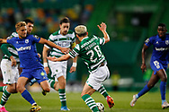 Pedro Gonçalves (Pote) tries to reach the ball during the Liga NOS match between Sporting Lisbon and Belenenses SAD at Estadio Jose Alvalade, Lisbon, Portugal on 21 April 2021.
