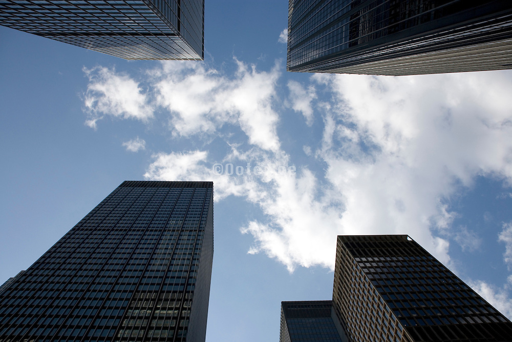 upwards view of office buildings in New York City