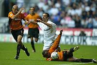 Photo. Aidan Ellis.<br />Bloton Wanderers v Wolverhampton Wanderers.<br />FA Barclaycard Premiership.<br />27/09/2003.<br />Wolves Paul Ince and Alex Rae combine to stop Bolton's Youri Djorkaeff