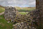 A collapsed dry stone wall and a leaning protective gate on farmland near Gordale Scar, on 12th April 2017, at Malham, in the Yorkshire Dales, England.