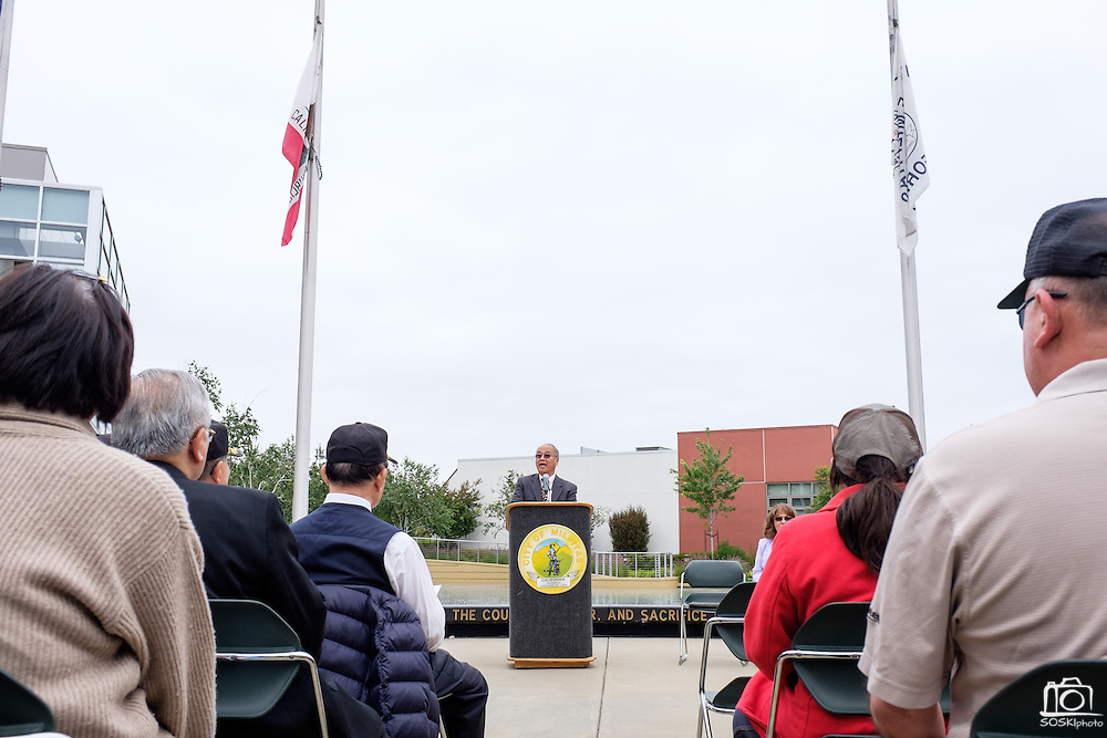 Mayor Jose Esteves welcomes guests and veterans to the Memorial Day Ceremony at City Hall in Milpitas, California, on May 25, 2015. (Stan Olszewski/SOSKIphoto)