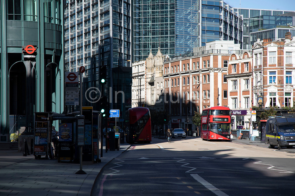 Bishopsgate, outside Liverpool Street railway station quiet, and almost deserted despite it being East End markets day when it is normally very busy on 22nd March 2020 in London, England, United Kingdom. Coronavirus or Covid-19 is a new respiratory illness that has not previously been seen in humans. While much or Europe has been placed into lockdown, the UK government has announced more stringent rules as part of their long term strategy, and in particular social distancing.