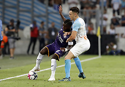 2018?8?10?.    ????????——???????????.    8?10???????????????????????????????.    ????2018-2019??????????????????????4?0??????.    ????????·????...(SP)FRNACE-PARIS-FOOTBALL-LIGUE 1-MARSEILLE VS TOULOUSE..(180810) -- MARSEILLE, Aug. 10, 2018  Lucas Ocampos (R) of Marseille vies with Max-Alain Gradel of Toulouse during their match of French Ligue 1 2018-19 season 1st round in Marseille, France on Aug. 10, 2018. Marseille won 4-0 at home.  49738 (Credit Image: © Fabien Galau/Xinhua via ZUMA Wire)