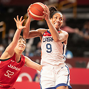 TOKYO, JAPAN August 8:  A'ja Wilson #9 of the United States drives rot the basket defended by Yuki Miyazawa #52 of Japan during the Japan V USA basketball final for women at the Saitama Super Arena during the Tokyo 2020 Summer Olympic Games on August 8, 2021 in Tokyo, Japan. (Photo by Tim Clayton/Corbis via Getty Images)