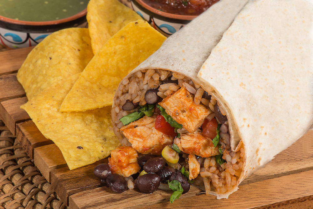 Chicken Burrito with chips and salsa
