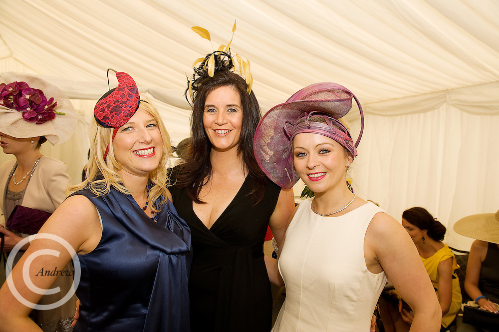 Pharmacist Audrey Kinahan with Linda Myers and Roisin Teirney Crowe from Lancome the Anthony Ryan Best Dressed Lady Competition at the Galway Races. Photo:Andrew Downes.
