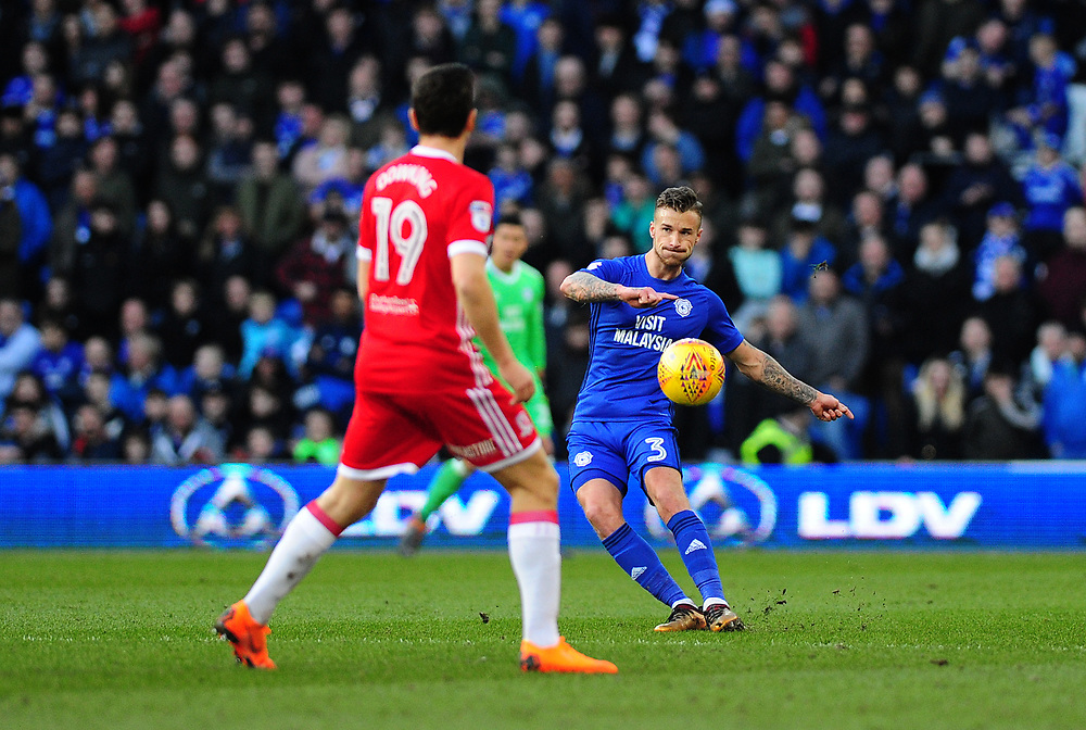 Cardiff City's Joe Bennett<br /> <br /> Photographer Ashley Crowden/CameraSport<br /> <br /> The EFL Sky Bet Championship - Cardiff City v Middlesbrough - Saturday 17th February 2018 - Cardiff City Stadium - Cardiff<br /> <br /> World Copyright © 2018 CameraSport. All rights reserved. 43 Linden Ave. Countesthorpe. Leicester. England. LE8 5PG - Tel: +44 (0) 116 277 4147 - admin@camerasport.com - www.camerasport.com
