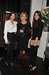 Left to right, AMANDA SHEPPARD, JACQUETTA WHEELER and INDIA LANGTON at a private view of jewellery and photographs by Rosie Emerson and Annoushka Ducas entitled Alchemy in association with Ruinart Champagne held at Annoushka, 41 Cadogan gardens, London SW3 on 15th September 2011.