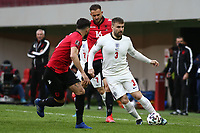 TIRANA, ALBANIA - MARCH 28: Luke Shaw of England during the FIFA World Cup 2022 Qatar qualifying match between Albania and England at the Qemal Stafa Stadium on March 28, 2021 in Tirana, Albania. Sporting stadiums around Europe remain under strict restrictions due to the Coronavirus Pandemic as Government social distancing laws prohibit fans inside venues resulting in games being played behind closed doors (Photo by MB Media)