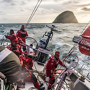 Leg 7 from Auckland to Itajai, day 01 on board MAPFRE. Going upwind very close to some NZ islands. Start day. 18 March, 2018.