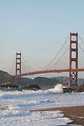 The Golden Gate Bridge seen from Baker Beach, San Francisco, USA