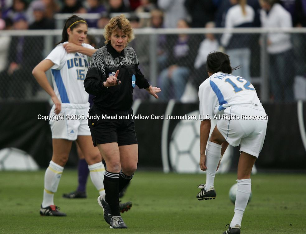 Referee Sandra Hunt gives a warning to UCLA's Erin Hardy (12). The University of Portland Pilots defeated the UCLA Bruins 4-0 to win the NCAA Division I Women's Soccer Championship game at Aggie Soccer Stadium in College Station, TX, Sunday, December 4, 2005.