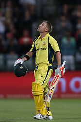 David Warner of Australia looks to the heavens after reaching his century during the 5th ODI match between South Africa and Australia held at Newlands Stadium in Cape Town, South Africa on the 12th October  2016<br /> <br /> Photo by: Shaun Roy/ RealTime Images