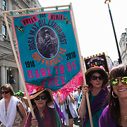 Tens of thousands of women and girls particpated in the Procession event  June 10th 2018, Central London, United Kingdom. Procession was a mass participation artwork produced by Artichoke and commissioned by 14-18 NOW. The event took place at the centenary of the women over the age of 30 getting the right to vote.