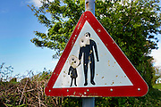 Road sign used for target practice and shot with airgun pellets,  North Cornwall