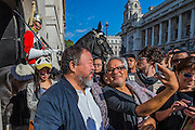 Both taking selfies outside Horse Guards - Anish Kapoor and Ai Weiwei go for a walk in London - The two artists have joined hands to walk out of London on Thursday. Each will carry a single blanket as a symbol of the need that faces 60 million refugees in the world today. The Artists have said that they welcome Londoners to join them along their route and ask that Londoners too bring a blanket in gesture of support. The artists will repeat this action in cities across the world over the next few months. The walk started at 10am on Thursday 17th September, at the Royal Academy of Arts passed: Piccadilly Circus; Trafalgar Square; Whitehall;  St Paul's Cathedral; Bank and ended up at Stratford.