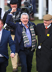 Owner Michael O'Leary (left) celebrates after winning the Ryanair Steeple Chase with Balko Des Flos during St Patrick's Thursday of the 2018 Cheltenham Festival at Cheltenham Racecourse.
