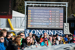 World Cup Standings  after Audi FIS Alpine Ski World Cup Men's Giant Slalom 58th Vitranc Cup 2019 on March 9, 2019 in Podkoren, Kranjska Gora, Slovenia. Photo by Peter Podobnik / Sportida