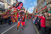 Giant dragons entertain the crowd - Chinese New Year Celebrations in London 2018 marking the arrival of the Year of the Dog. The Event started with a Grand Parade from the North East side of the Trafalgar Square and finishing in Chinatown at Shaftesbury Avenue. It was organised by London Chinatown Chinese Association and is supported by The Mayor of London and Westminster City Council.