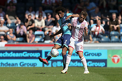 Sido Jombati of Wycombe Wanderers under pressure from Matthew Godden of Stevenage - Mandatory by-line: Jason Brown/JMP - 05/05/2018 - FOOTBALL - Adam's Park - High Wycombe, England - Wycombe Wanderers v Stevenage - Sky Bet League Two