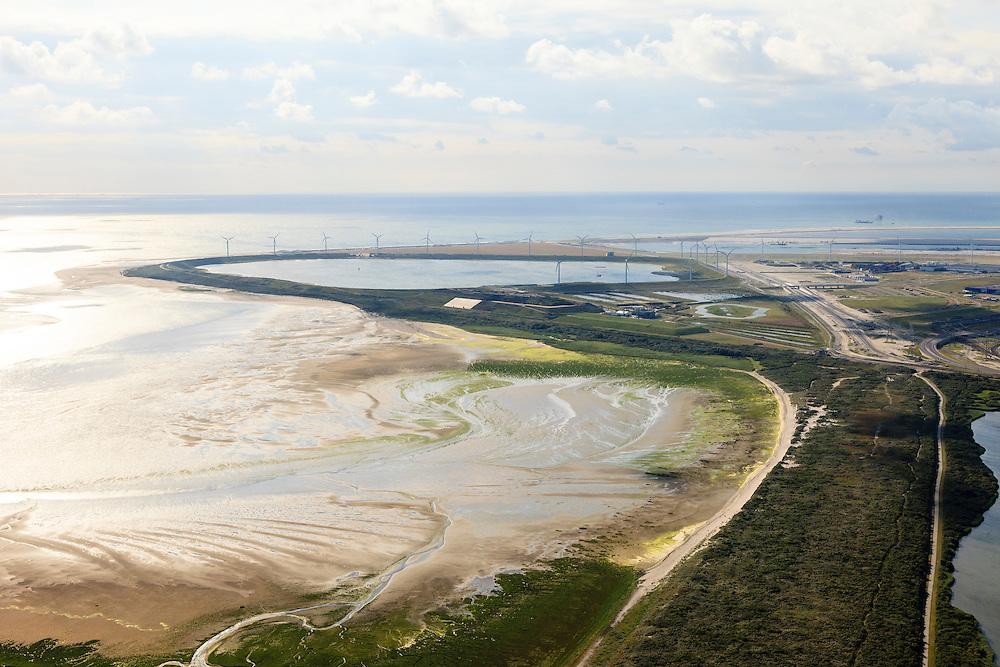 Nederland, Zuid-Holland, Rotterdam, 15-07-2012; zicht op De Slufter vanaf de Brielse Gatdam met de Tweede Maasvlakte in het verschiet. De Slufter is een grootschalige opslagplaats voor vervuild havenslib. De verontreinigde baggerspecie komt voort uit het onderhoudsbaggerwerk in de Rotterdamse haven waarbij de haven op diepte wordt gehouden. Langs de rand van de Slufter zijn windmolens gebouwd.The Slufter area in the South-West of the Netherlands, large-scale depot of contaminated harbor sludge from the Port of Rotterdam . Along the edge of the Slufter windmills are built.  The Second Maasvlakte in the background.luchtfoto (toeslag); aerial photo (additional fee required); .foto Siebe Swart / photo Siebe Swart