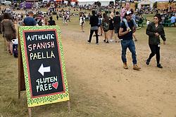 Latitude Festival 2017, Henham Park, Suffolk, UK. Spanish paella stall sign