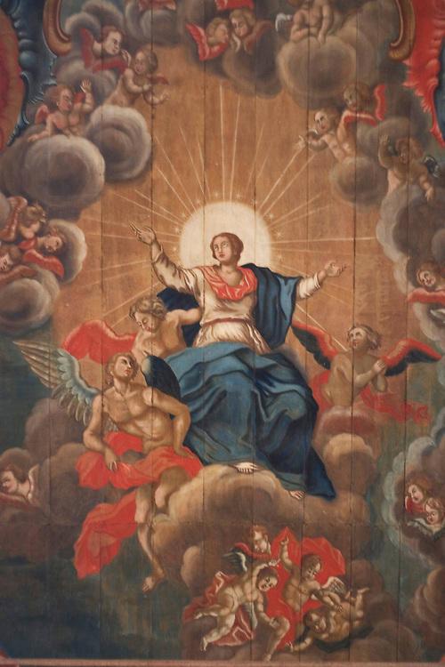 Santa Barbara_MG, Brasil...Pintura de santo no teto da Igreja de Nossa Senhora do Rosario. ..The louvre ceiling in Nossa Senhora do Rosario church...Foto: LEO DRUMOND / NITRO