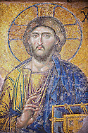 Byzantine Deësis ( Entreaty) mosaic , 1261, detail of Christ Pantocrator for humanity on Judgment Day.   Hagia Sophia, Istanbul, Turkey .<br /> <br /> If you prefer to buy from our ALAMY PHOTO LIBRARY  Collection visit : https://www.alamy.com/portfolio/paul-williams-funkystock/hagia-sophia-istanbul.html<br /> <br /> Visit our TURKEY PHOTO COLLECTIONS for more photos to download or buy as wall art prints https://funkystock.photoshelter.com/gallery-collection/3f-Pictures-of-Turkey-Turkey-Photos-Images-Fotos/C0000U.hJWkZxAbg