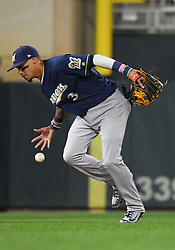 May 18, 2018 - Minneapolis, MN, U.S. - MINNEAPOLIS, MN - MAY 18: Milwaukee Brewers Shortstop Orlando Arcia (3) can't handle a ball during a MLB game between the Minnesota Twins and Milwaukee Brewers on May 18, 2018 at Target Field in Minneapolis, MN. The Brewers defeated the Twins 8-3.(Photo by Nick Wosika/Icon Sportswire) (Credit Image: © Nick Wosika/Icon SMI via ZUMA Press)