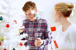 Smiling Couple Decorating Christmas Tree