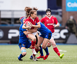 Lisa Neumann of Wales is tackled by Maria Magatti of Italy<br /> <br /> Photographer Simon King/Replay Images<br /> <br /> Six Nations Round 1 - Wales Women v Italy Women - Saturday 2nd February 2020 - Cardiff Arms Park - Cardiff<br /> <br /> World Copyright © Replay Images . All rights reserved. info@replayimages.co.uk - http://replayimages.co.uk