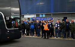 The Leicester City team coach arrives at the Cardiff City Stadium