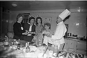 22/05/1963<br /> 05/22/1963<br /> 22 May 1963<br /> Fish Scholarship Course at I.C.A. Headquarters, An Grianán House, Termonfeckin, Co. Louth. Irish Countrywomens Association delegates from all over Ireland attended the course. Picture shows, sampling Executive Chef Michael Marley's (Odeon (Ireland) Ltd.) fish dishes were  (l-r)   I.C.A. members Miss Kittie Tobin, South Tipperary; Mrs C. Heffernan, Louth; Miss Nellie Halley, Waterford and Mrs Charlotte Schwatschhe, Grangecullen.