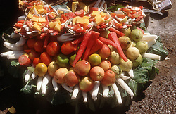 Display of fruit on road side stall,