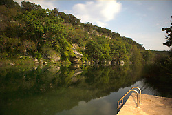 Stock photo of afternoon on the dock of a river in the Texas Hill Country
