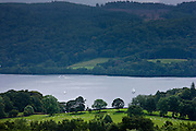 Yacht on northern part of Lake Windermere in the Lake District National Park from Troutbeck, Cumbria, UK
