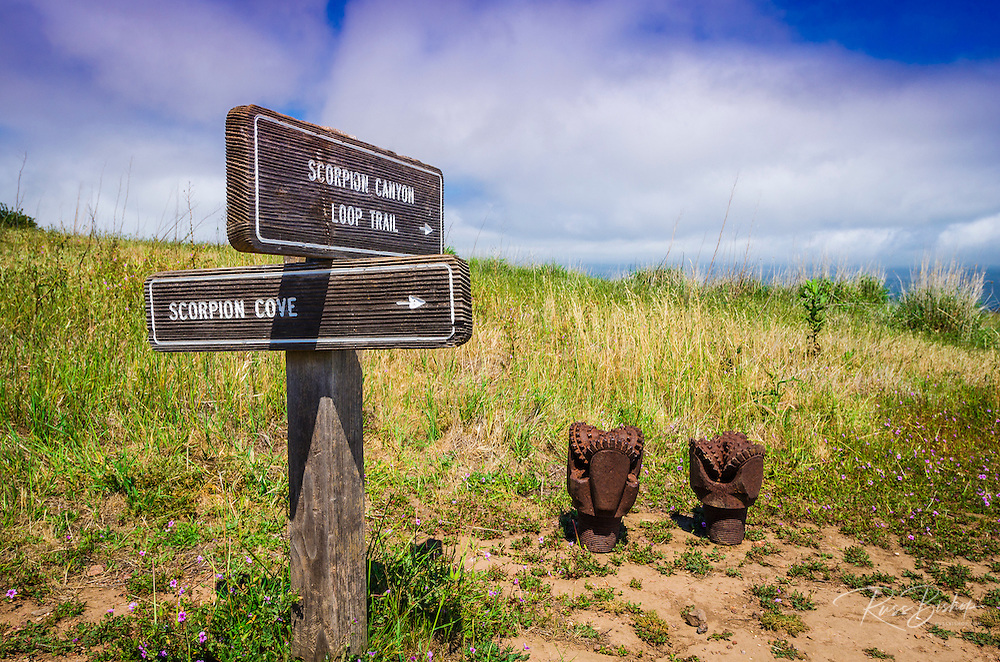 Trail sign and drill bits at Scorpion Ranch, Santa Cruz Island, Channel Islands National Park, California USA