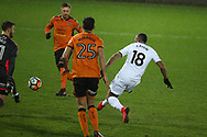 Jordan Ayew of Swansea city (18) scores his teams 1st goal.  The Emirates FA Cup, 3rd round replay match, Swansea city v Wolverhampton Wanderers at the Liberty Stadium in Swansea, South Wales on Wednesday 17th January 2018.<br /> pic by  Andrew Orchard, Andrew Orchard sports photography.