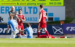 St Johnstone's Steven MacLean (9) booked by Ref Bobby Madden. St Johnstone 1 v 2 Aberdeen. SPFL Ladbrokes Premiership game played 15/4/2017 at St Johnstone's home ground, McDiarmid Park.