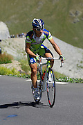France - Tuesday, Jul 22 2008: An unidentified Liquigas rider on the climb to the summit of the Col de la Bonette Restefond during Stage 16 of the Tour de France 2008. (Photo by Peter Horrell / http://www.peterhorrell.com)