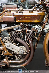 A antique Swiss manufactured Motosacoche motorcycle on display in the Swiss-Moto Customizing and Tuning Show. Zurich, Switzerland. Friday, February 22, 2019. Photography ©2019 Michael Lichter.