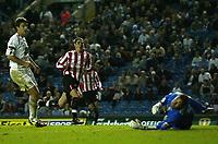 Fotball<br /> England<br /> 24.09.2004<br /> Foto: SBI/Digitalsport<br /> NORWAY ONLY<br /> <br /> Leeds United v Sunderland<br /> Coca-Cola Championship<br /> Elland Road<br /> <br /> Sunderland's Carl Robinson (C) wheels away after scoring his team's first goal.