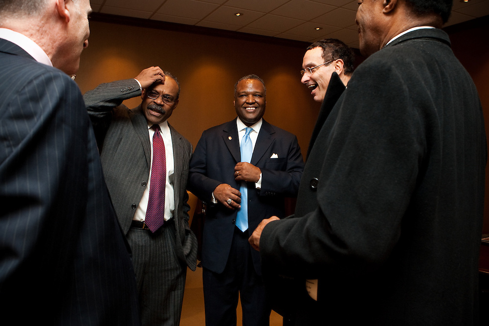 UPPER MARLBORO, MD - DECEMBER 6: Prince George's County Executive-Elect Rushern Baker III (center) laughs with former Prince George's County Executive Wayne Curry (second from left) Washington D.C. Mayor-Elect Vincent Gray (second from right) and Washington D.C. Councilmember Marion Barry (far right) after inauguration ceremonies at Prince George's County Administration Building on December 6, 2010 in Upper Marlboro, Maryland. (Photo by Michael Starghill, Jr.)