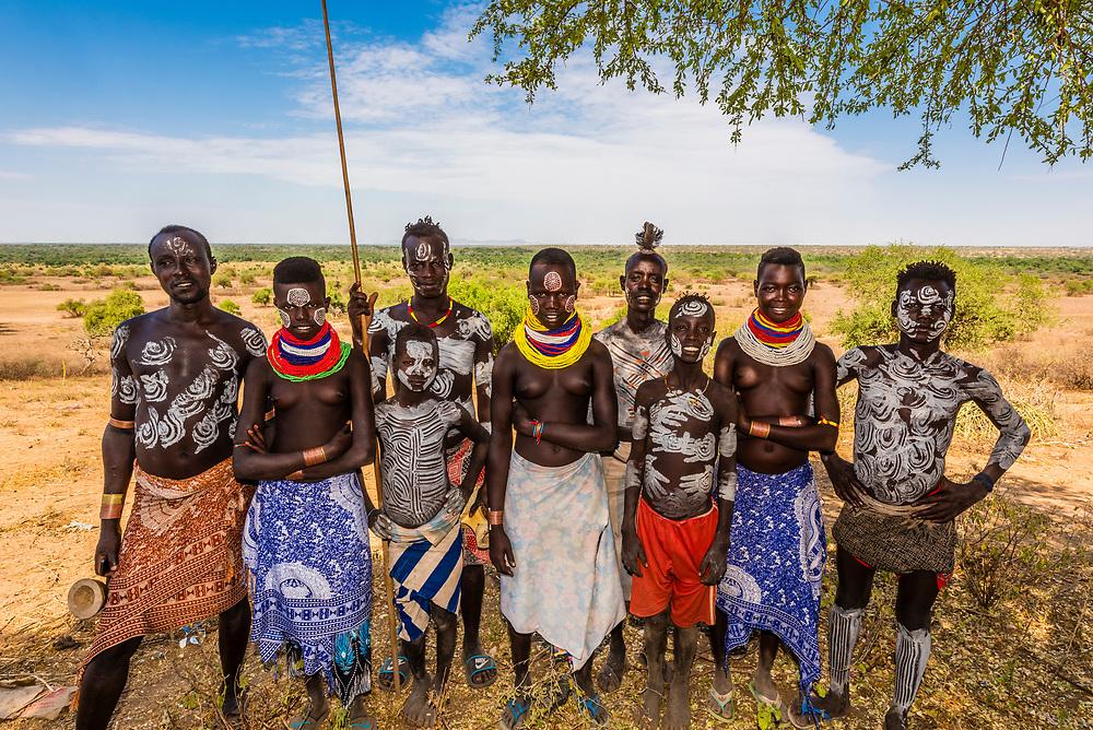 A group of Kara tribespeople, Omo Valley, Ethiopia.