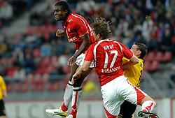 09-05-2007 VOETBAL: PLAY OFF: UTRECHT - RODA: UTRECHT<br /> In de play-off-confrontatie tussen FC Utrecht en Roda JC om een plek in de UEFA Cup is nog niets beslist. De eerste wedstrijd tussen beide in Utrecht eindigde in 0-0 / Francis Dickoh, Alje Schut en Andres Oper<br /> ©2007-WWW.FOTOHOOGENDOORN.NL